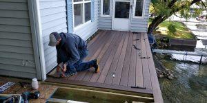 Josh building a deck