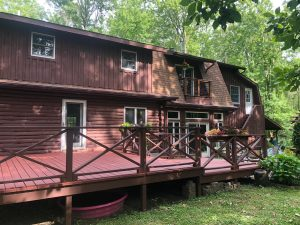 stained deck and home